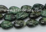 CEM06 15.5 inches 10*14mm flat teardrop emerald gemstone beads
