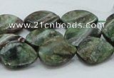 CEM27 15.5 inches 13*18mm twisted teardrop emerald gemstone beads