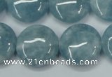 CEQ97 15.5 inches 20mm flat round blue sponge quartz beads