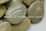 CFA16 15.5 inches 22*30mm flat teardrop chrysanthemum agate beads