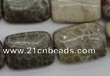 CFA224 15.5 inches 18*25mm rectangle chrysanthemum agate beads