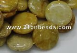 CFA43 15.5 inches 20mm flat round yellow chrysanthemum agate beads