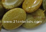 CFA49 15.5 inches 22*30mm oval yellow chrysanthemum agate beads