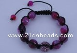 CFB553 12mm faceted round agate with rhinestone beads adjustable bracelet
