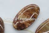 CFC105 Top-drilled 25*50mm oval fossil coral beads wholesale