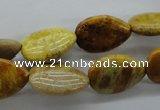 CFC109 15.5 inches 13*18mm flat teardrop fossil coral beads wholesale