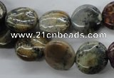 CFC123 15.5 inches 14mm flat round fossil coral beads wholesale