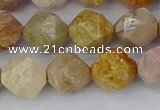 CFC239 15.5 inches 12mm faceted nuggets fossil coral beads