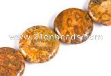 CFC25 20mm coin 15.5 inches fossil coral  beads Wholesale
