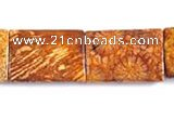 CFC28 18*25mm rectangle 15.5 inch fossil coral  beads Wholesale
