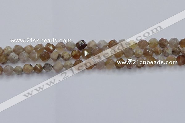 CFC300 15.5 inches 6mm faceted nuggets coral jade beads