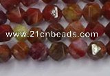 CFC306 15.5 inches 6mm faceted nuggets dyed coral jade beads