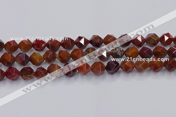 CFC309 15.5 inches 12mm faceted nuggets dyed coral jade beads
