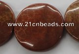 CFC85 15.5 inches 30mm flat round fossil coral beads wholesale