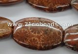 CFC89 15.5 inches 25*35mm flat drum fossil coral beads wholesale