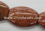 CFC90 15.5 inches 30*40mm flat drum fossil coral beads wholesale