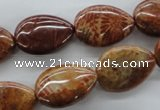 CFC92 15.5 inches 13*18mm flat teardrop fossil coral beads wholesale
