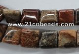 CFC94 15.5 inches 12*12mm square fossil coral beads wholesale