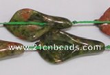 CFG07 15.5 inches 18*38mm carved trumpet flower unakite gemstone beads