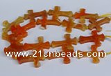 CFG1231 15.5 inches 32*45mm - 35*48mm cross dragon veins agate beads