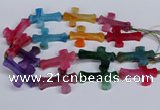CFG1236 15.5 inches 32*45mm - 35*48mm cross dragon veins agate beads
