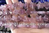 CFG1300 15.5 inches 15mm carved star strawberry quartz beads