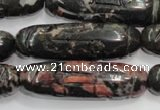 CFG211 15.5 inches 12*40mm carved rice plum blossom jade beads
