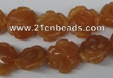 CFG232 15.5 inches 16mm carved flower red aventurine beads
