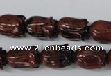 CFG236 15.5 inches 10*15mm carved flower mahogany obsidian beads