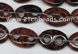 CFG292 15.5 inches 15*20mm carved oval mahogany obsidian beads