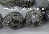 CFG344 15.5 inches 18*22mm carved skull moss quartz beads
