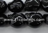 CFG345 15.5 inches 17*19mm carved skull black agate beads