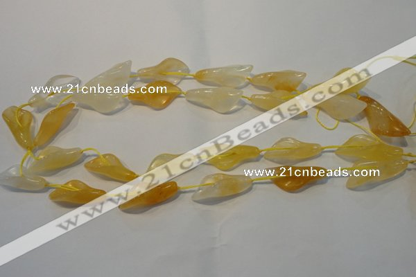 CFG561 15.5 inches 14*28mm carved trumpet flower yellow aventurine beads