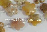 CFG672 15.5 inches 15mm carved flower agate gemstone beads