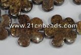 CFG679 15.5 inches 20mm carved flower bronzite gemstone beads