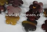 CFG684 15.5 inches 15mm carved flower mookaite gemstone beads