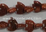 CFG768 15.5 inches 10*15mm carved animal goldstone gemstone beads