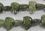 CFG769 15.5 inches 10*15mm carved animal green lace gemstone beads