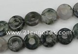 CFG901 15.5 inches 12mm carved coin donut moss agate beads