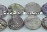 CFJ17 15.5 inches 18mm flat round natural purple flower stone beads