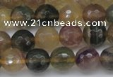 CFL1115 15.5 inches 14mm faceted round yellow fluorite gemstone beads
