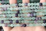 CFL1146 15.5 inches 6mm round matte fluorite beads wholesale