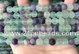 CFL1147 15.5 inches 8mm round matte fluorite beads wholesale