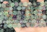 CLF1167 15.5 inches 8mm carved round fluorite gemstone beads