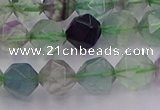CFL1408 15.5 inches 10mm faceted nuggets fluorite gemstone beads