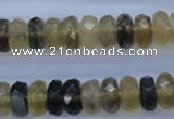CFL143 15.5 inches 6*12mm faceted rondelle yellow fluorite beads