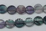 CFL163 15.5 inches 12mm coin natural fluorite beads wholesale