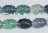 CFL306 15.5 inches 12*16mm carved rice natural fluorite beads