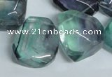 CFL332 15.5 inches 20*24mm faceted nugget natural fluorite beads