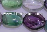 CFL724 15.5 inches 18*27mm nuggets natural fluorite beads wholesale